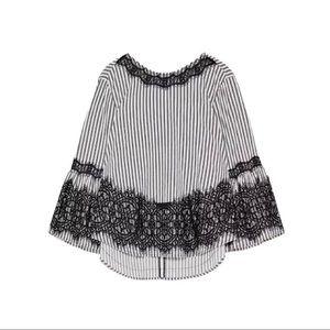 ZARA | Stripes & Laces Blouse Top